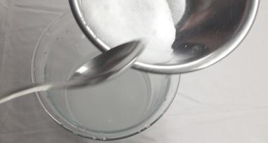 Add 300g of Rochelle Salt to 500ml of distilled water.